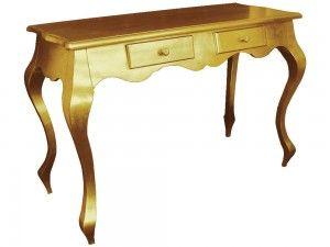 Krásny dizajnový konzolový stolík Neapol v zlatej farbe s dvoma šuflíkmi. Stolík je vyrobený z dreva, zlatá farba na stolíku je nanášaná ručne.  Jeho barokový dizajn Vás určite unesie do časov dávno minulých.  Šírka: 110  Dĺžka: 45cm  Výška: 76cm  Materiál: drevo  Dostupné farby: zlatá, strieborná