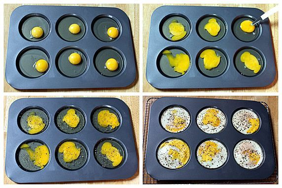 Bake eggs for homemade Egg McMuffins in a muffin top/whoopie pie pan for 10-15 minutes at 350 degrees.