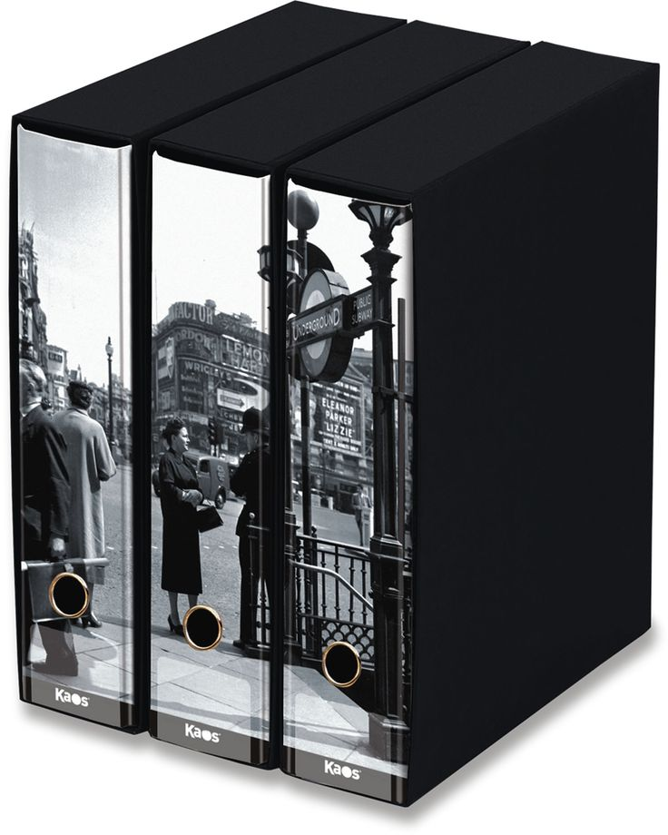 KAOS Lever Arch Files 2ring Binders with slipcase, Spine 8 cm, 3 pcs Set  - LONDON, SUBWAY  - 3 pcs Set Dimensions: 26.8x35x29 cm