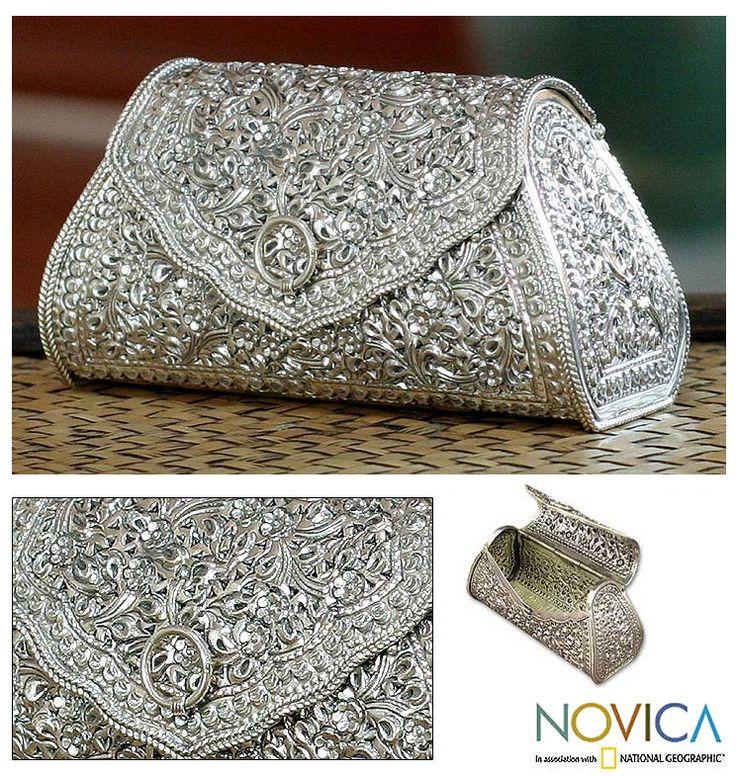 Thai Sterling Silver Patterned Clutch Handbag
