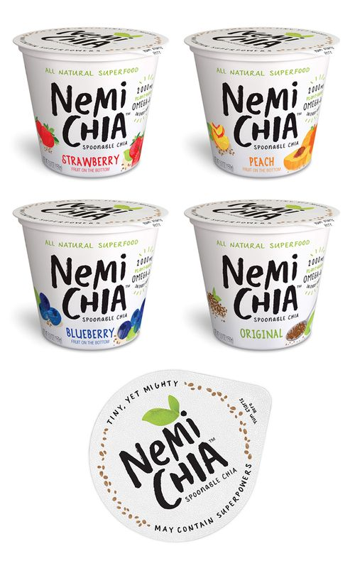 Miller Branding Agency created a #plastic #packaging design for NemiChia that is fun and nutritious. Via @TheDieline