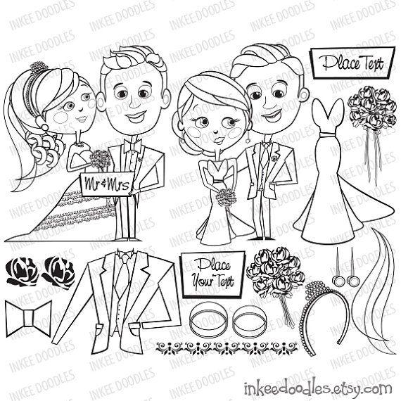 Bride Groom Wedding Party Flowers Dress Jacket Rings Embroidery Digital Stamp Scrapbooking Supplies Clip Art Set by InkeeDoodles, $6.00 #Bride #Groom #Wedding #Party #Flowers #Dress #Jacket #Rings #Embroidery #Digital #Stamp #Scrapbooking #Supplies #Clip #Art #Set