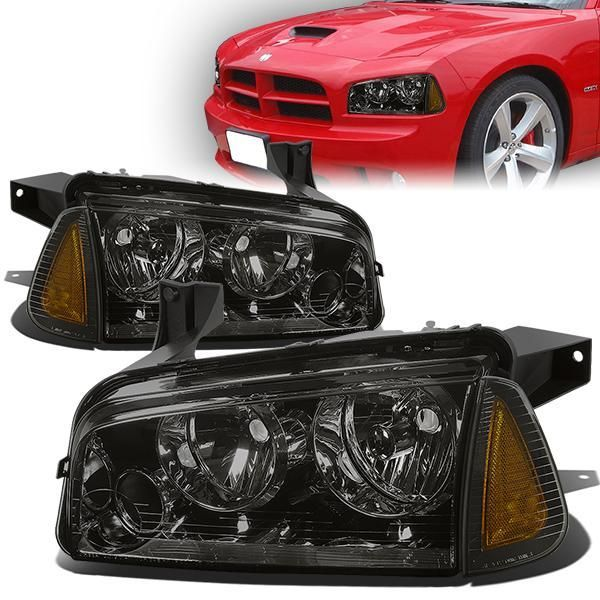 06 10 Dodge Charger Headlights Smoked Housing Amber Corner Dodge Charger Headlights Dodge