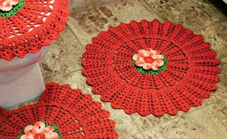 Red crochet bathroom set ❤️LCB-MRS ❤️ with diagrams. --- tapetes para o banheiro red em croche em croche com receita