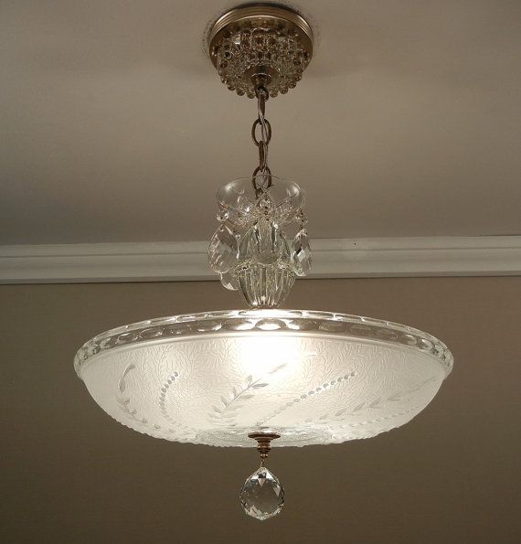 Vintage 1940u0027s Soft White Pressed Glass Antique Ceiling Light Fixture  Chandelier Rewired