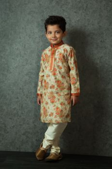 Printed cotton kurta embellished with kasab work from #Benzerworld #Benzer #kidwear