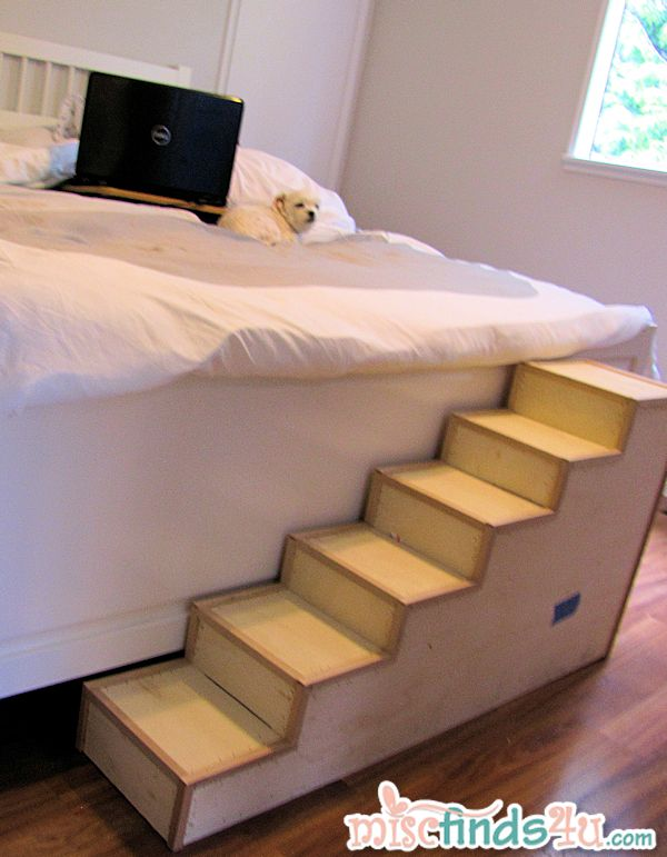 Trying out the fit of the new (unfinished) pet stairs against the foot board of our new king size bed.