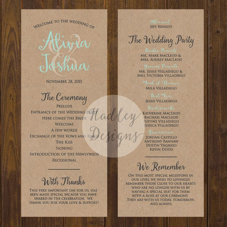 examples of wedding programs