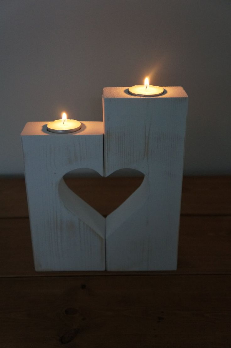 Love Heart Candle Holders - Wooden heart - home decor - new home gift by WoodAlwaysWorks on Etsy