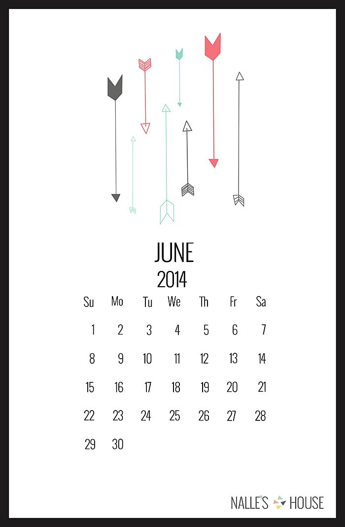 free printable June calendar | Nalle's House