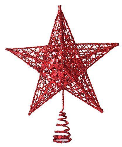 EOZY Weihnachtsstern Weihnachtsbaumspitze Glitzer Deko 20x15cm Rot
