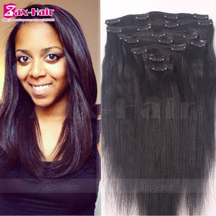 Clip In Human Hair Extensions Light Italian Yaki Straight Clip In Hair Extensions Brazilian Human Hair African American Clip In
