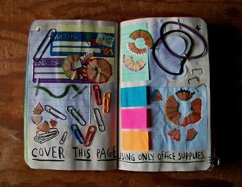 Wreck This Journal - Cover this page using only office supplies.