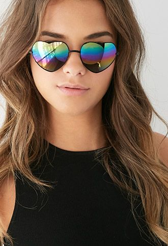 Mirrored Heart-Shaped Sunglasses | Forever 21 - supacute! #benefitfestivalfavourites