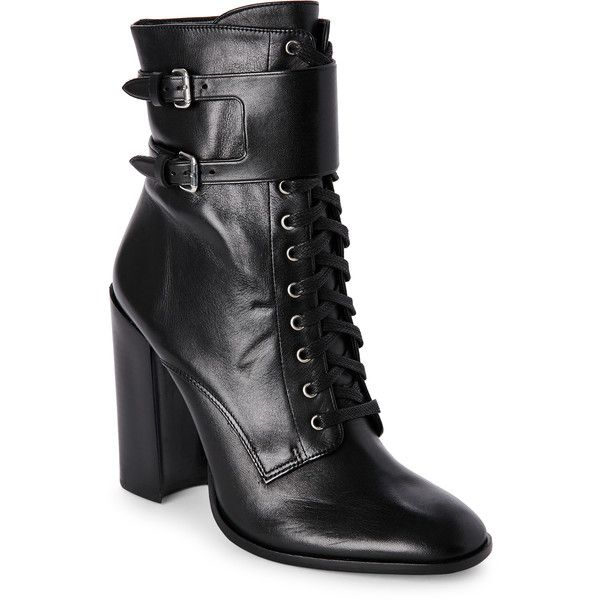 Schutz Black Makayla Lace-Up Block Heel Combat Boots (£140) ❤ liked on Polyvore featuring shoes, boots, ankle booties, black, high heel combat boots, black high heel boots, lace up combat boots, black lace up booties and black military boots