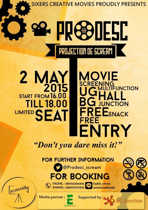 SIXERS Craetive Movise Proudly Present : Movie Screening : Projection De Scream (PRODESC)  Tanggal : Sabtu, 2 Mei 2015 Tempat : UG Multifunction Hall, BG Junction Mall, Surabaya Waktu : 16.00 – 18.00  http://eventsurabaya.net/?event=movie-screening-projection-de-scream-prodesc