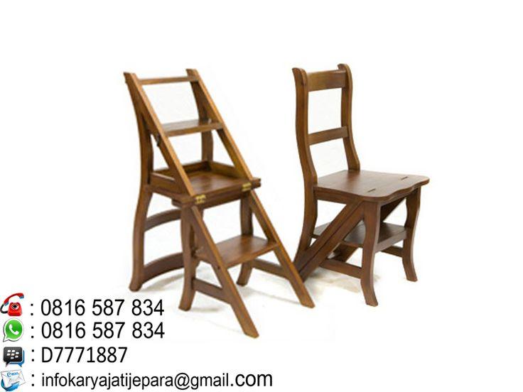 kursi tangga kayu jati multifungsi ini dibuat oleh pengrajin kami yang sangat handal dan mempunyai kontruksi yang sangat kokoh serta berkwalitas