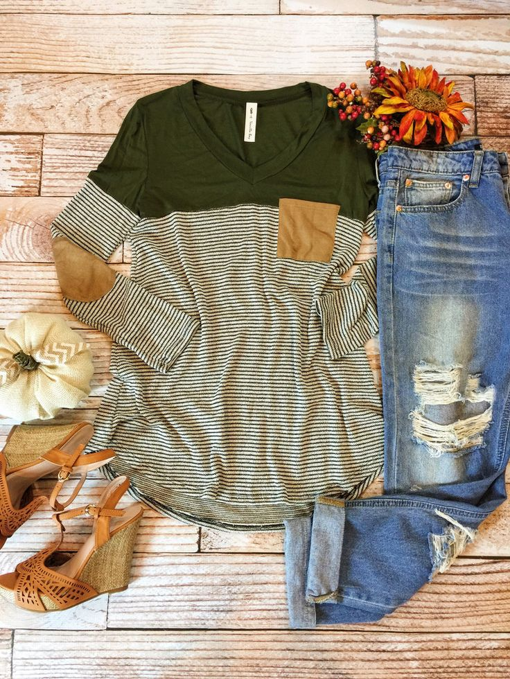green striped long sleeve tee with solid shoulders, brown suede contrast elbow patches and pocket, distressed boyfriend jeans, brown leather wedges. preppy, casual, bold, hangout, spring or fall outfit.