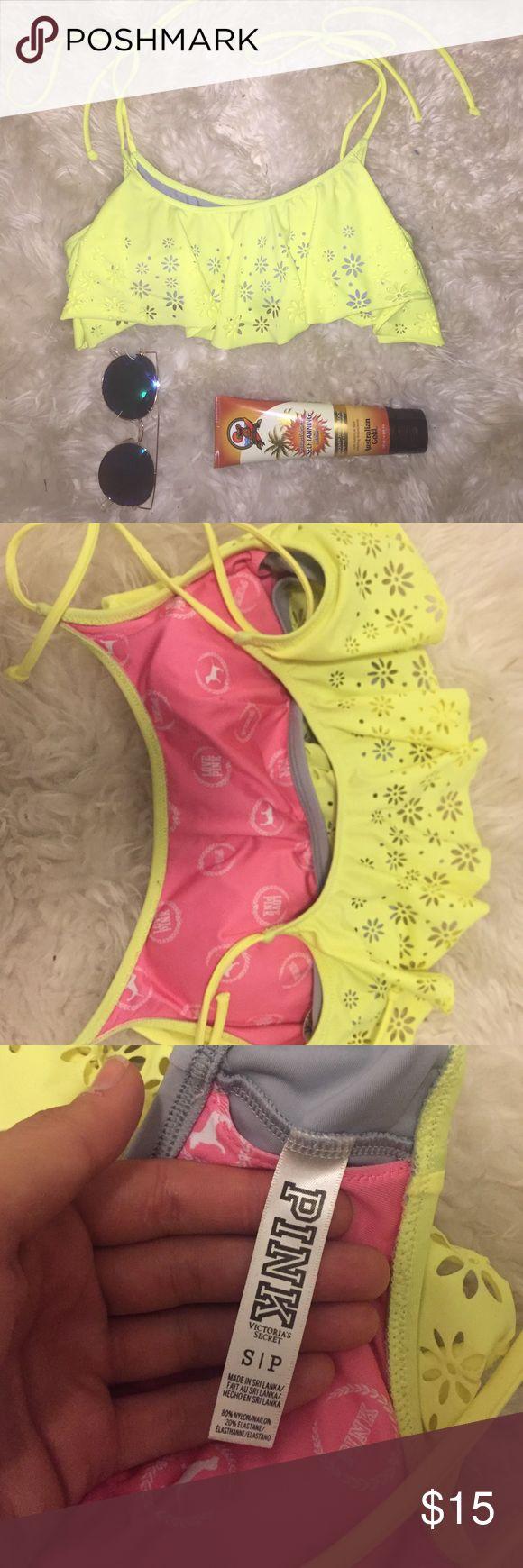 Victoria secret Pink bikini top bathing suit Beautiful fluorescent yellow bikini top with tie string straps. Lined underneath with a yellow flap with beautiful flower cut outs. PINK Victoria's Secret Swim Bikinis