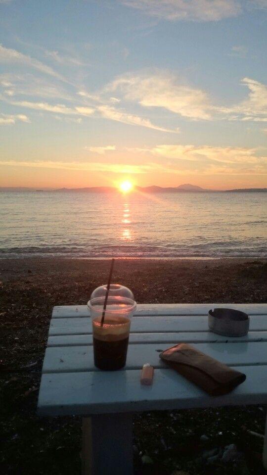 Drinking Alone a Freddo Espresso @ Alimos Beach...