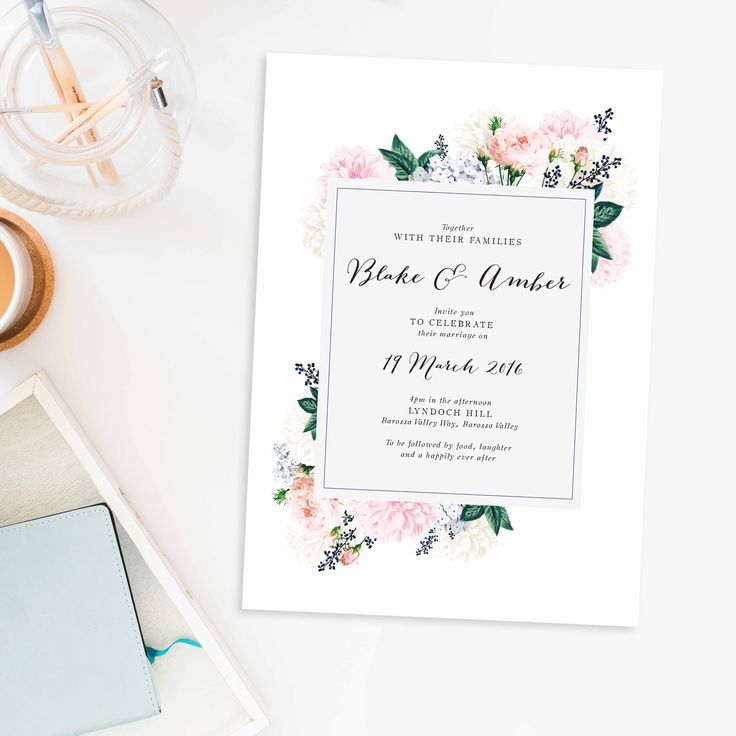 88 best pink and gold wedding invitations images on pinterest pastel floral wedding invitations berries sail and swan stopboris Choice Image