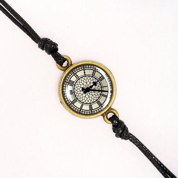 Vintage Style Clock Bracelet, Handmade Glass Cabochon, Silver, Antique Bronze, KC Gold BCZA01R01K05