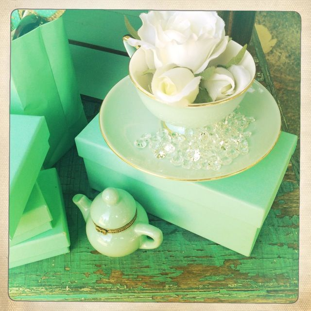 Breakfast @ Tiffany's Themed Hen's Party - Teacup Floral Arrangements - Tea Pot - Tiffany's Boxes