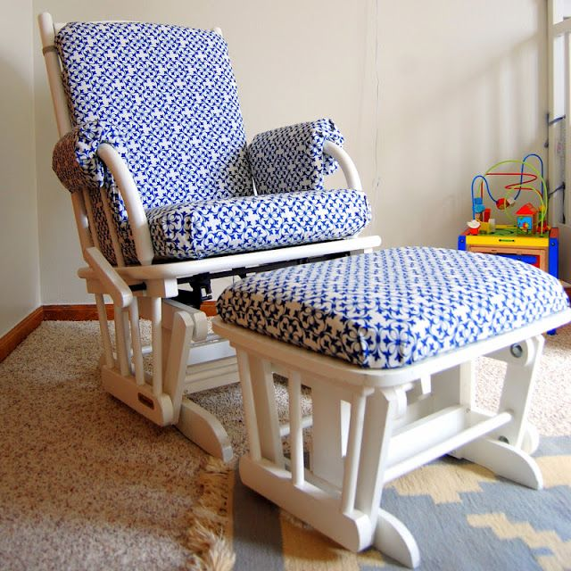 Easy recover of glider cushions. //Practically Polished: Glider Makeover