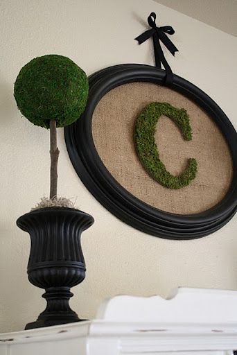 love the moss ball and framed C: Monograms Letters, Decor Ideas, Crafts Ideas, Moss Monograms, Black Frames, Crafty, Front Doors, Burlap Frames, Cool Ideas