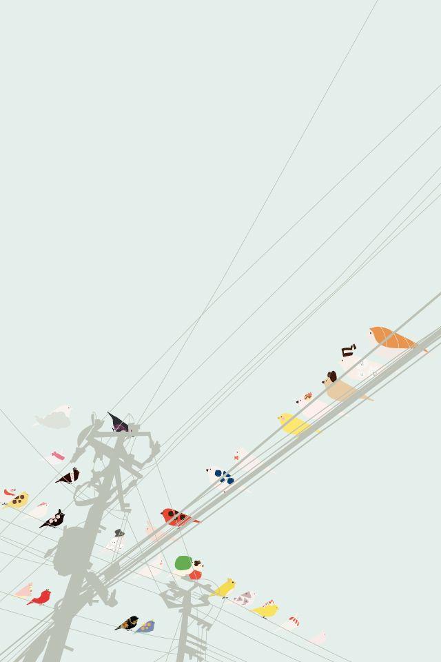 oiseaux sur câbles électriques