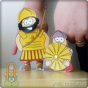 David and Goliath finger puppets