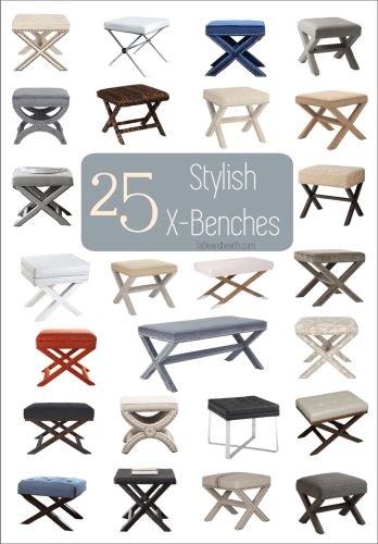 A roundup of 25 beautiful X benches to use in your home - Table & Hearth