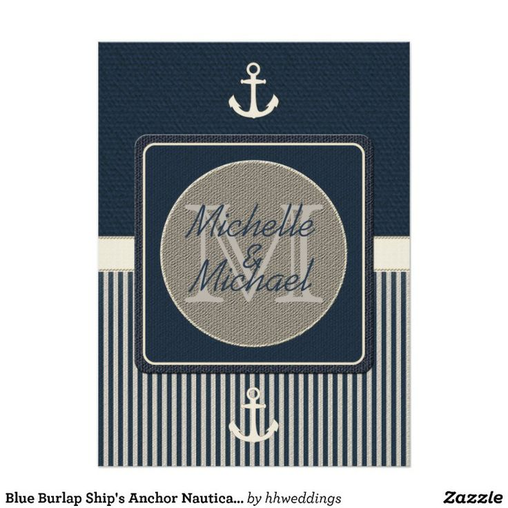 Blue Burlap Ship's Anchor Nautical Wedding Shower Invitation #wedding favors, #bridal shower favors, #party favors, #personalized favors, #decorations, #bridesmaids gifts, #bridal party gifts, #wedding supplies, #timelesstreasure