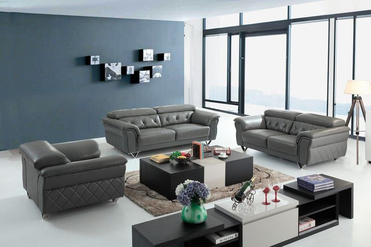 Divani Casa Perry Modern Grey Leather Sofa Set VGBNS-9199-GRY