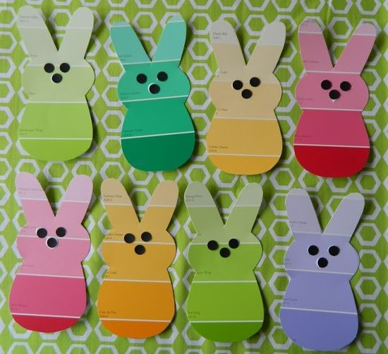 Easter bunnies made from paint chips...could make a cute banner for a bulletin board.
