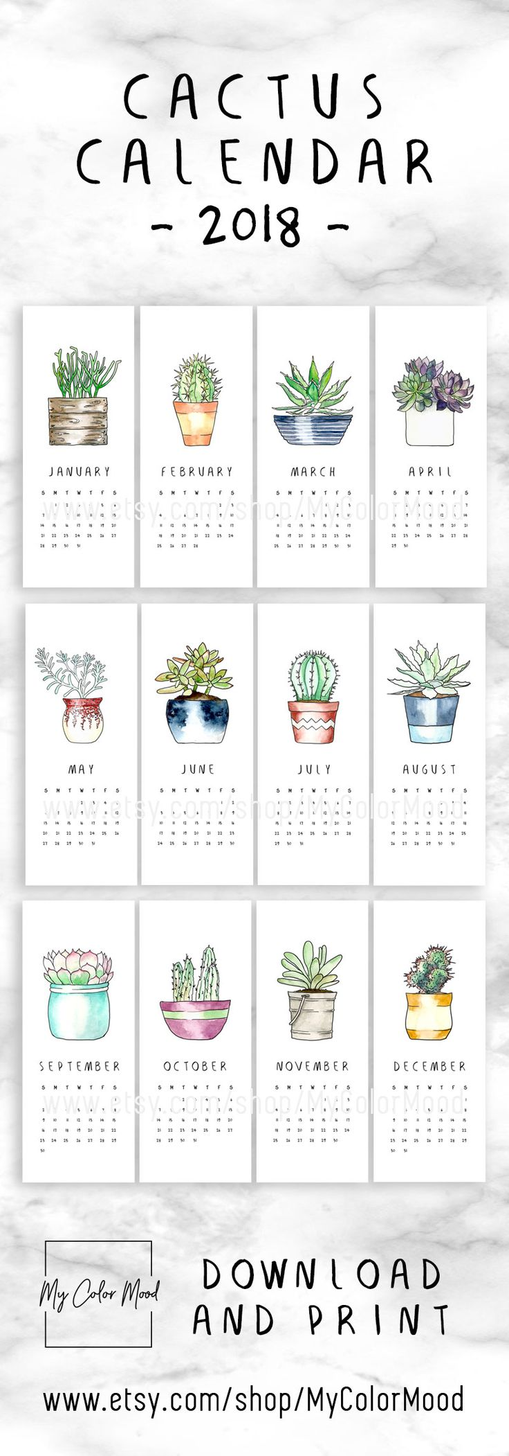 Printable calendar pages 2018, Small monthly calendar 2018 printable, Calender 2018, Hanging cactus calendar, Modern office calendar decor