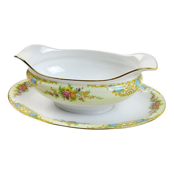 Vintage Gravy Boat Floral Noritake Double Spouted Gravy Boat with... ($19) ❤ liked on Polyvore featuring home, kitchen & dining, serveware, noritake, gold gravy boat, noritake gravy boat, floral plates and orange plates