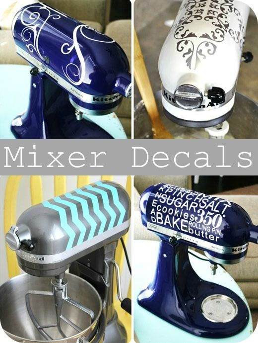 $12.00!  decals for kitchenaid mixers.  very cool!  Plus all the other great ideas.