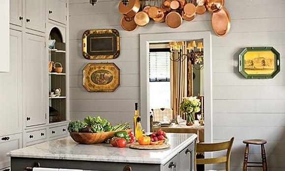 vintage gray kitchen + copper pots   (Revere Pewter: Benjamin Moore)