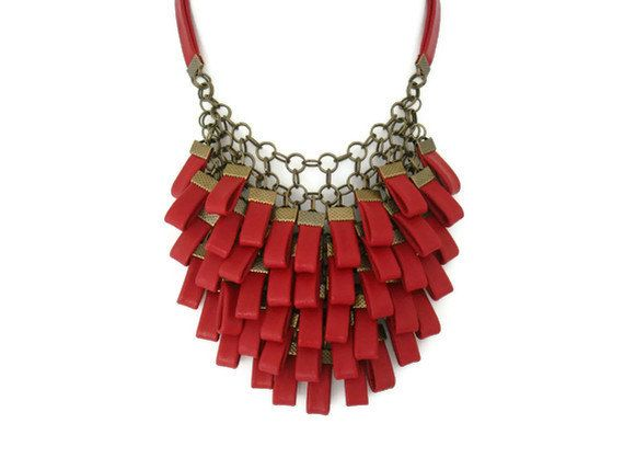 SALE...Red Leather Cluster Statement Necklace Leather Jewellery Leather Necklace Costume Jewellery Evening Jewellery Valentines Gift for Her on Etsy, $126.45
