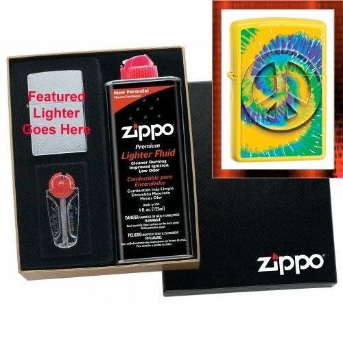 """Tye Dye Peace Symbol"" Zippo Lighter Gift Set by AMS. $30.95. Attractive Black Gift Box. Stylized, Tye Dye Peace Symbol decoration on front of lighter. Genuine Zippo Lemon Gloss Finish lighter. 6pc. Zippo Flints in Handy Dispenser. Zippo Premium Fuel Supply, 4 oz.. This attractive gift set assures that your gift will be ready to use and appreciated the day it is received. Includes complete instructions and an ample supply of accessories needed for proper and continued us..."