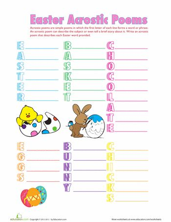 Worksheets: Easter Acrostic Poems