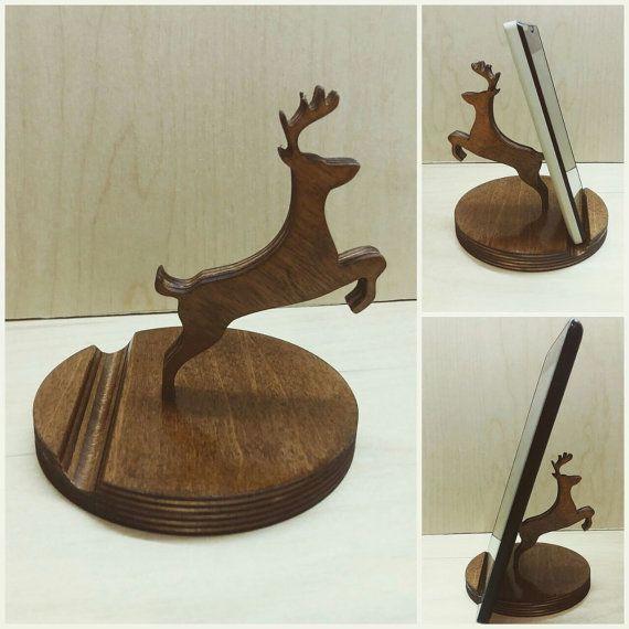 Wooden phone holder deer Wooden phone stand Desk by VedaBohoShop