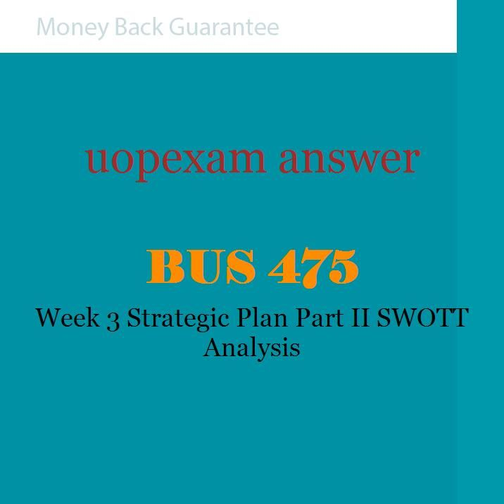 strategic plan part ii bus 475 Business model and strategic plan part ii: swott analysis paper your name bus 475 july 14, 2016 business model and strategic plan part ii: swott analysis paper a swott analysis is a critical examination used to evaluate both internal and external elements of a company and the influence they have over the company.