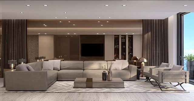 A Spacious Living Room With A Sophisticated Aesthetic