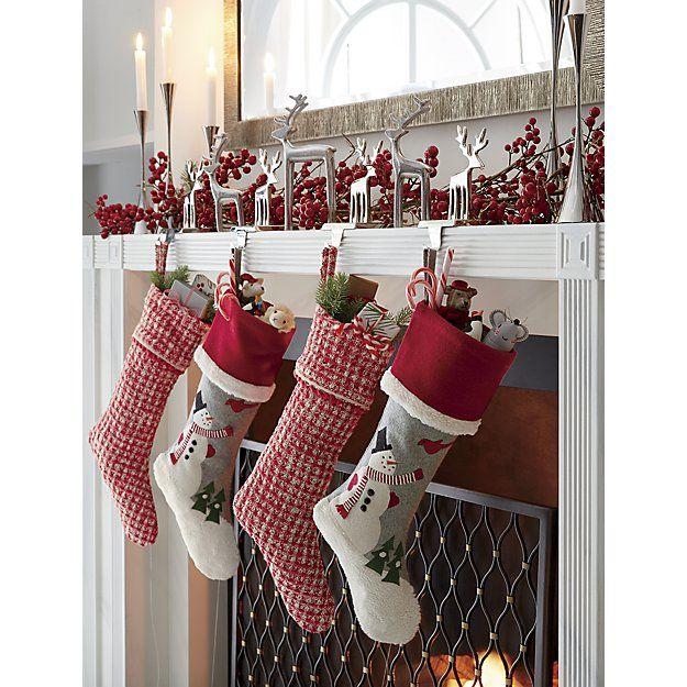 Peppermint Stocking Crate Barrel Christmas Mantel Decorations Christmas Mantle Decor White Christmas Decor