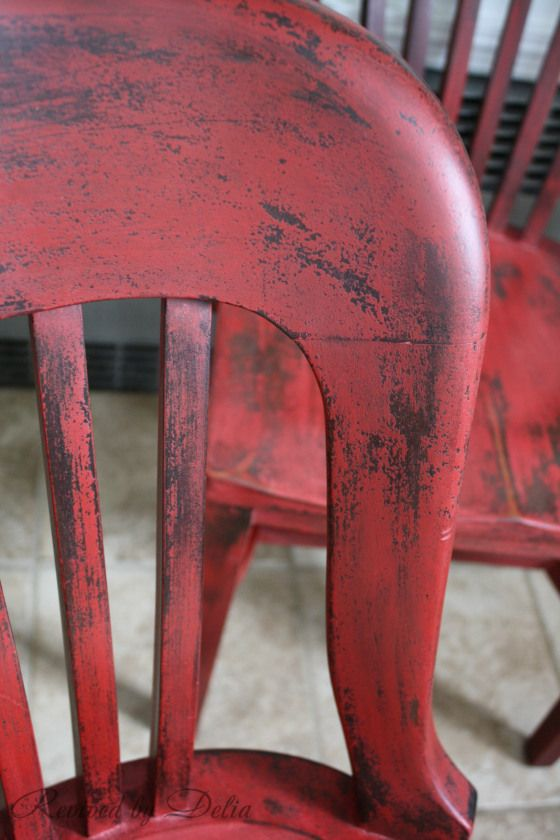 Painted in Miss Mustard Seed's Milk Paint:Tricycle - the perfect red to go with dark colours!