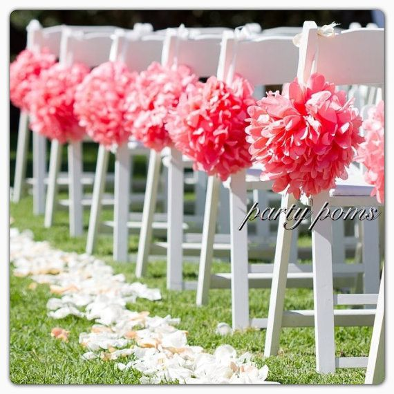 Wedding Ceremony Decoration  ..  Aisle Decor .. 9 inch tissue pom poms .. Custom Colors