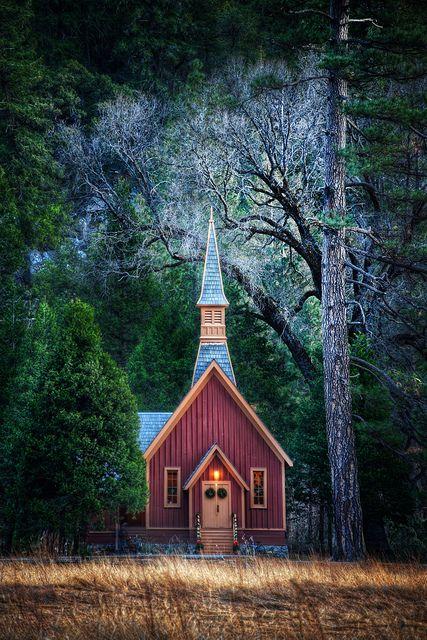 Yosemite Valley Chapel, Yosemite NP. - Built in 1879. Architect - Charles Geddes; Builder- E. Thomson.