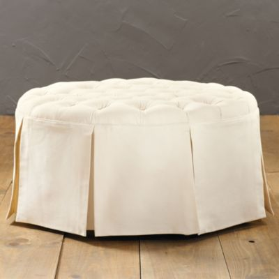 Hayes round tufted ottoman ballard designs bedroom for Master bathroom ottoman